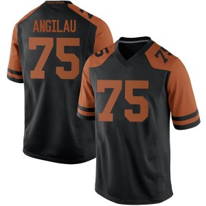 Junior Angilau Nike Texas Longhorns Men's Replica Mens Football College Jersey - Black